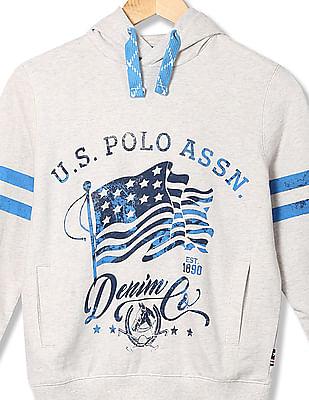U.S. Polo Assn. Kids Boys Contrast Print Hooded Sweatshirt