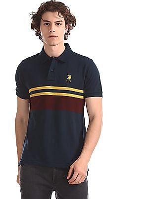 U.S. Polo Assn. Blue Stripe Chest Pique Polo Shirt