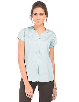 Arrow Woman Regular Fit Notched Neck Shirt