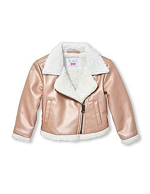 The Children's Place Baby Girl Faux Sherpa Lined Moto Jacket