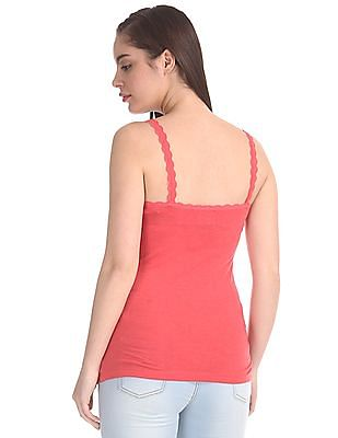 Unlimited Lace Trim Heathered Camisole