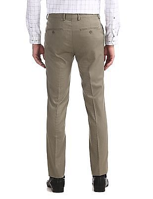 Excalibur Beige Mid Rise Super Slim Fit Trousers