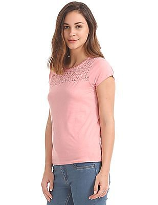 SUGR Lace Yoke Speckled Top
