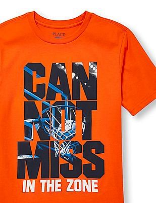 The Children's Place Boys Short Sleeve 'Cannot Miss In The Zone' Basketball Hoop Graphic Tee