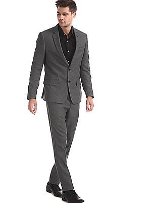 Arrow Newyork Grey Single Breasted Patterned Suit