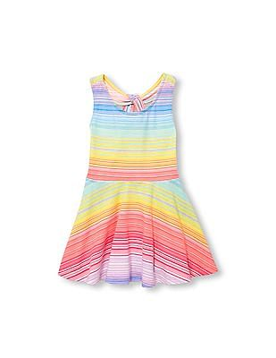 The Children's Place Toddler Girl Sleeveless Printed Keyhole Knit Racer-Back Dress