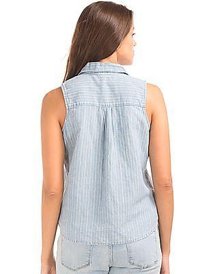 GAP Women Blue 1969 Linen-Cotton Denim Stripe Button Top