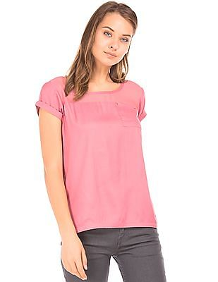 Cherokee Sheer Yoke Curved Hem Top