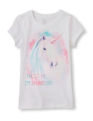 The Children's Place Girls Trust Unicorn Print T-Shirt