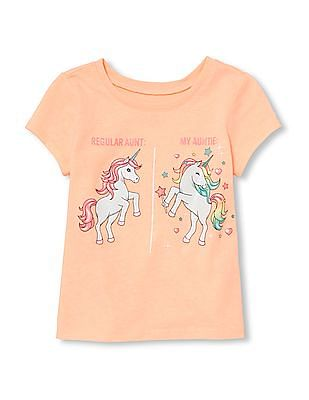 The Children's Place Baby And Toddler Girl Short Sleeve Glitter 'My Auntie' Unicorn Graphic Tee