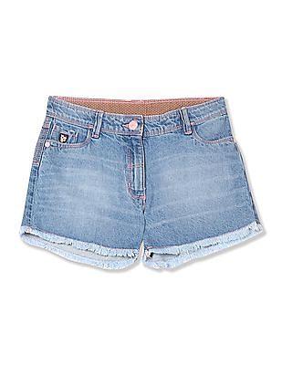U.S. Polo Assn. Kids Girls Raw Hem Denim Shorts