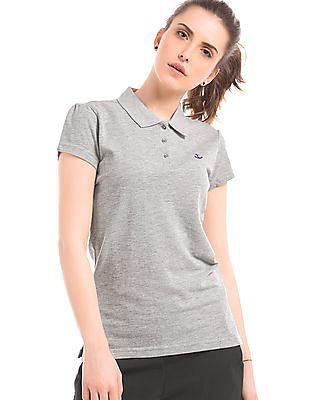 Flying Machine Women Short Sleeve Regular Fit Polo Shirt
