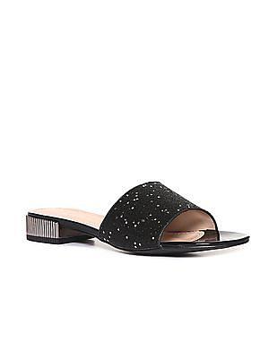 Stride Black Open Toe Glitter Strap Sandals