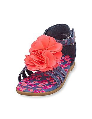 The Children's Place Toddler Girl Blue Denim Rosette Zahara Sandal