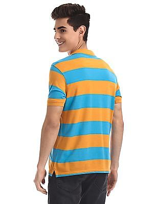 Ruggers Blue And Yellow Striped Pique Polo Shirt