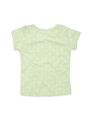 Elle Kids Girls Heart Print Regular Fit T-Shirt