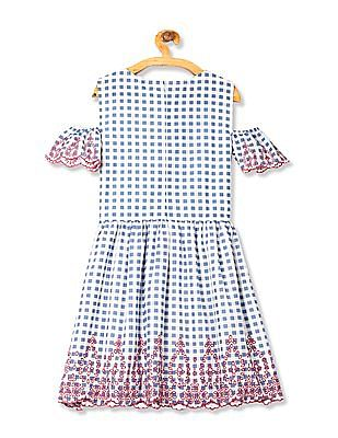 Cherokee Girls Check Fit And Flair Dress