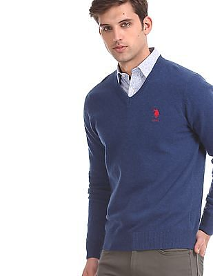 U.S. Polo Assn. Blue V-Neck Lambswool Sweater