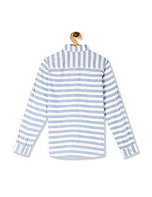 FM Boys Blue Boys Roll Up Sleeve Horizontal Stripe Shirt
