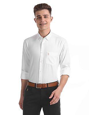 U.S. Polo Assn. Regular Fit Patterned Weave Shirt