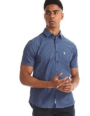U.S. Polo Assn. Blue Printed Cotton Shirt