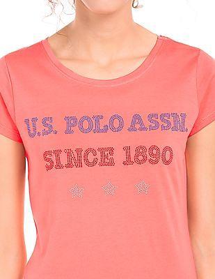 U.S. Polo Assn. Women Regular Fit Embellished T-Shirt