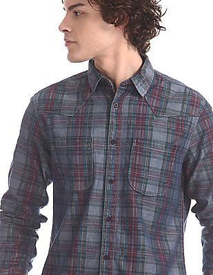 Cherokee Blue Chambray Check Shirt
