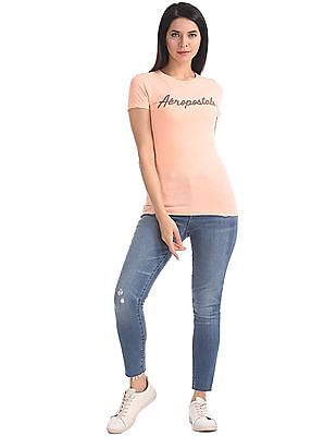 Aeropostale Textured Front Short Sleeve T-Shirt