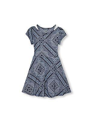 The Children's Place Girls Short Sleeve Cutout Printed Knit Dress