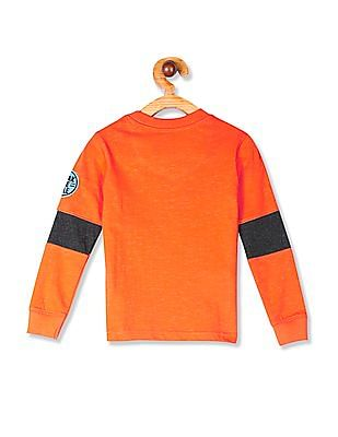 Cherokee Orange Boys Zip Pocket Printed T-Shirt