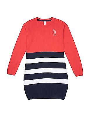 U.S. Polo Assn. Kids Girls Striped Sweater Dress
