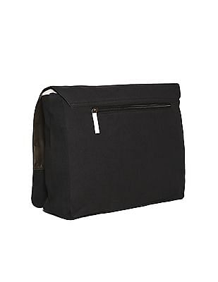 Flying Machine Black Canvas Messenger Bag