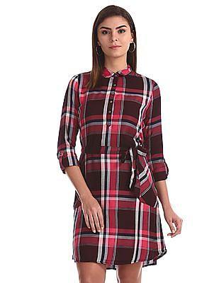 Cherokee Pink Check Popover Shirt Dress