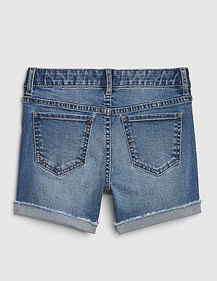 GAP Girls Superdenim Midi Shorts In Distressed With Fantastiflex