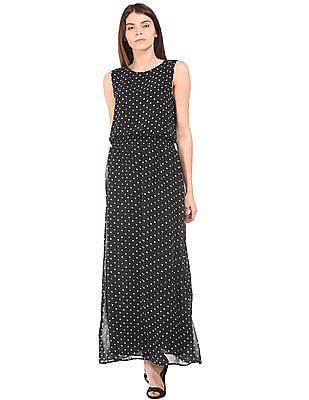U.S. Polo Assn. Women Polka Dot Printed Maxi Dress