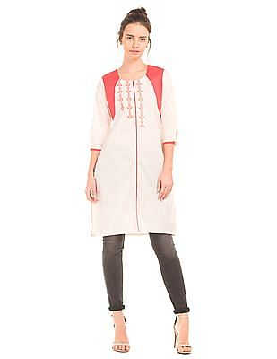 Karigari Embroidered U-Neck Kurta