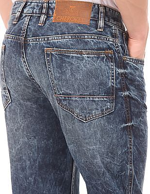 Cherokee Acid Wash Straight Fit Jeans