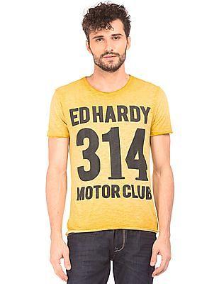 Ed Hardy Printed Front Slubbed T-Shirt