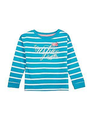 U.S. Polo Assn. Kids Girls Printed Striped Sweatshirt