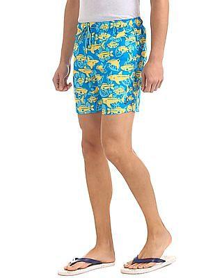 Bayisland Drawstring Waist Floral Print Shorts