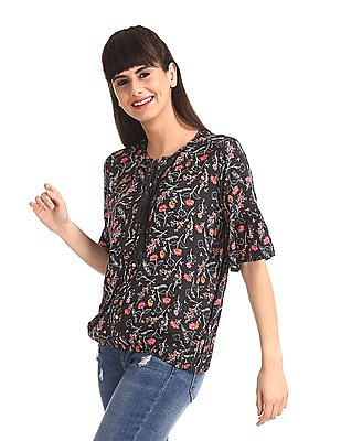 SUGR Grey Elasticized Hem Floral Print Top