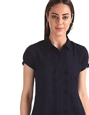 Cherokee Black Solid Pintuck Shirt