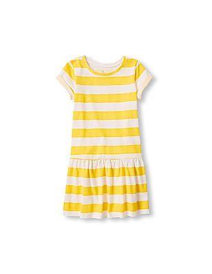 The Children's Place Girls Short Sleeve Striped Drop Waist Dress