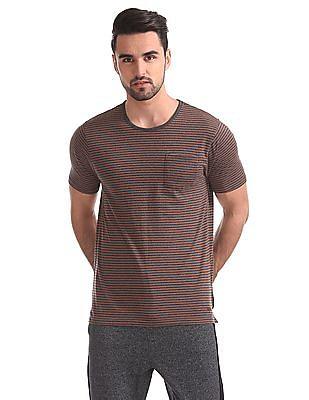 Cherokee Striped Round Neck T-Shirt