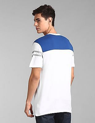 GAP White Colour Block Logo T-Shirt