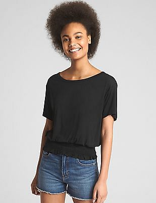 GAP Short Sleeve Smocked Hem Top