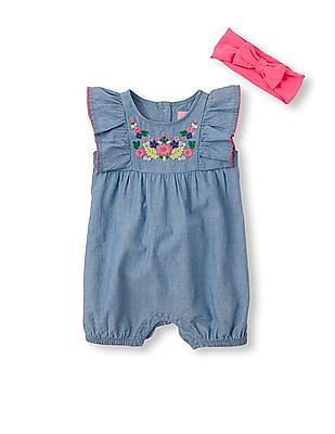 The Children's Place Baby Girls Short Flutter Sleeve Floral Stitch Chambray Romper And Headwrap Set