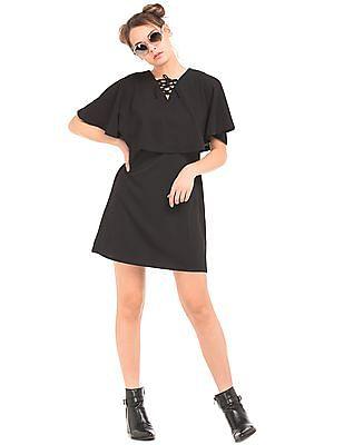 Elle Cape Sleeve Textured Sheath Dress