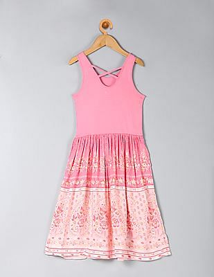 GAP Girls Pink Print Skirt Tank Dress