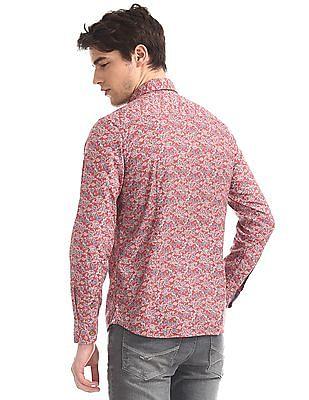 U.S. Polo Assn. Denim Co. Red All Over Print Spread Collar Shirt